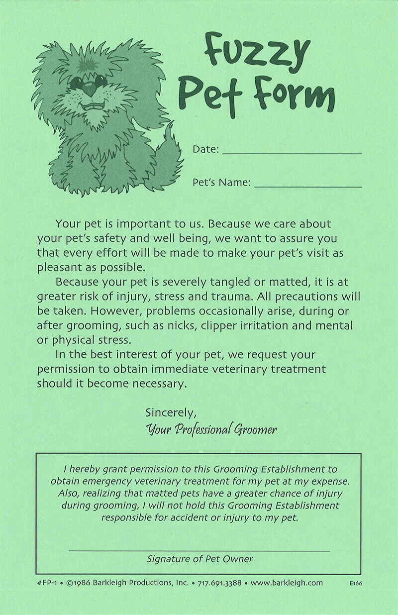 fuzzy pet release forms barkleigh store